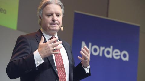 Nordeas vd Casper von Koskull presenterar företagets bokslut på huvudkontoret i Stockholm.   Bild: Janerik Henriksson/TT