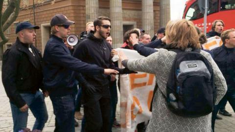 I söndags attackerade Nordisk ungdom en manifestation för ensamkommandes rättigheter. Bild: Privat