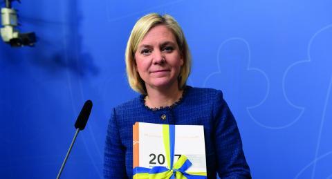 Magdalena Andersson under presentationen av vårbudgeten 2017.  Bild: Fredrik Sandberg/TT