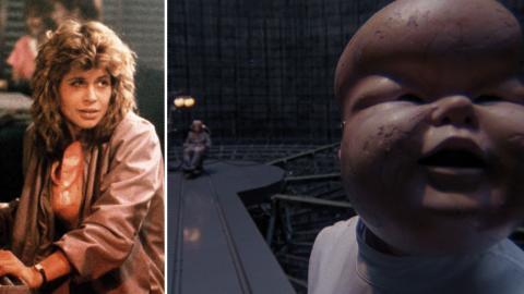 Sarah Connor i Terminator. Till höger: Scen ur kultklassikern Brazil.