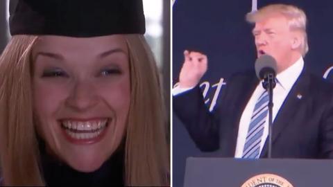 Juristen Elle Woods (Reese Witherspoon) i Legally Blonde från 2001. Donald Trump under talet i Virginia i lördags.  Bild: Skärmdump Fallon Tonight