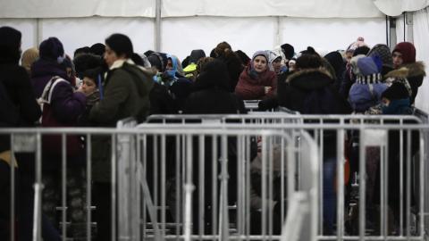 Flyktingar i ett mottagningscentrum i Berlin, januari 2016. Bild: Markus Schreiber/AP/TT
