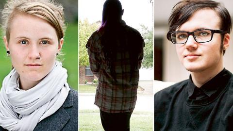 Debattörerna: Emelie Mire Åsell sammankallande i RFSL:s trans- och intersexarbetsgrupp och Frank Berglund Förbundsordförande RFSL Ungdom. Bild: bild Eric Gay/AP/T