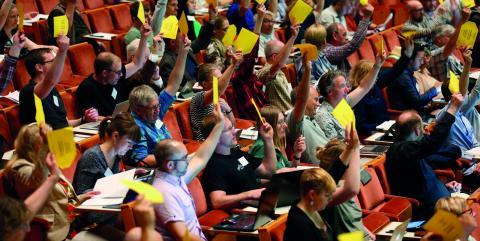I helgen var det kongress för Miljöpartiet de gröna och på plats i Linköping fanns 13 representanter från Kronobergs län.  Bild: Stefan Jerrevång/TT
