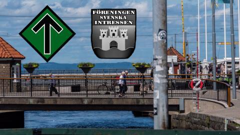 Nordiska motståndsrörelsens och Föreningen svenska intressens loggor.  Bild: Daniel Johansson