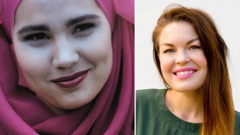 Iman Meskini i rollen som Sana. Till höger: krönikör Kristin McMillen. Bild: NRK