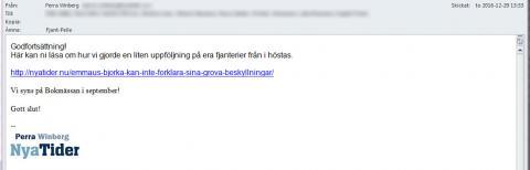 Mejl från Nya Tider till organisationen Emmaus Björkå.