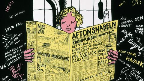Bild: Marie-Louise Ekman, På toaletten (Aftonsnabeln), 1969 © Marie-Louise Ekman