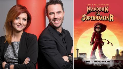 """Agnes och Elias Våhlund som tillsammans gjort """"Handbok för Superhjältar"""". Bild: Göran Segholm"""