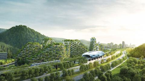 Plan över hur Liuzhou Forest City ska bada i grönska.  Bild: Stefano Boeri Architetti