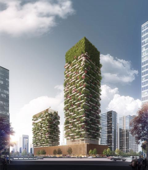 Detta hus är under konstruktion i Nanjing, Kina.  Bild: Stefano Boeri Architetti