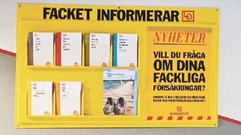 Informationstavla från facket. Bild: Henrik Witt/SCANPIX