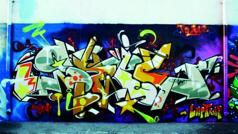 Så här kunde den lagliga graffitiväggen se ut när där var aktivitet.  Bild: privat