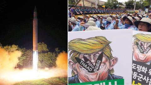 """Sydkoreanska demonstranter marscherar mot en amerikansk miltiärbas i Seoul i protest mot Donald Trumps retorik mot Nordkorea. Förra veckan lovade han att Nordkorea ska mötas av """"eld och ursinne"""" om de fortsätter att hota USA. Bild: Ahn Young-Joon/AP"""