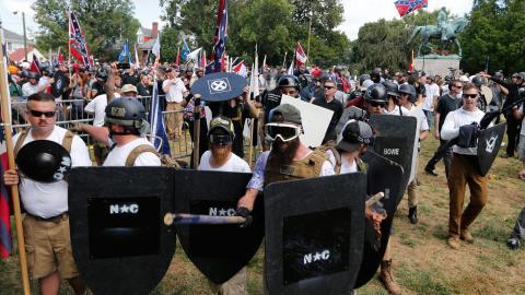 Vita nationalister i Lee Park i Charlottesville 12 augusti. Bild: Steve Helber/AP/TT