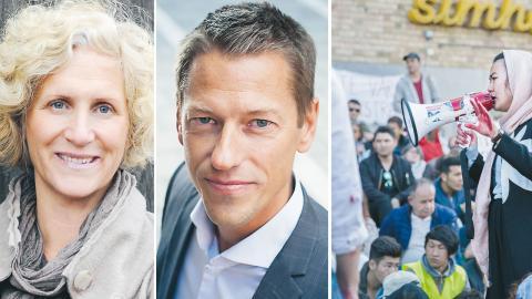 Utvisningarna, som möter protester  på Medborgarplatsen i Stockholm och på flera håll i Sverige, är ett hot mot de ungas liv och hälsa, skriver dagens debattörer. Bild: Privat, Yvonne Åsell/svd/TT