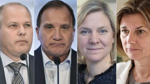 Morgan Johansson (S) / Stefan Löfven (S) / Magdalena Andersson (S) / Isabella Lövin (MP). Bilder: Vilhelm Stokstad/Fredrik Sandberg/Janerik Henriksson/TT