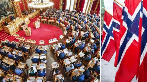 Stortinget / norska flaggan. Bild: Heiko Junge/Gorm Kallestad/NTB Scanpix/TT