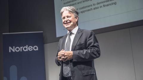 Casper von Koskull, vd och koncernchef presenterar Nordeas rapport för andra kvartalet. Bild: Malin Hoelstad/SvD/TT
