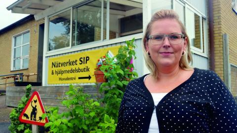 Sofie Sjöstrand och Nätverket SIP vill påverka Allmänna arvsfonden så att sociala        företag och ideella föreningar ska kunna ta lån istället för att vara bidragsberoende.  Bild: Linda Alfons