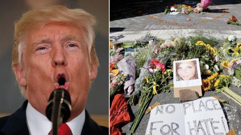 Charlottesville, USA. Sörjande har skapat en minnesplats där en person dog i helgen när en misstänkt nazisympatisör körde in med bil i en grupp motdemonstranter. Bild: Steve Helber/AP/TT