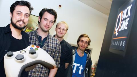 Sedan ett drygt år tillbaka jobbar Robin Cederlund, Martin Torstensson, Johannes Öhlin, och Johan Dahlskog i Quick save studios med att slå sig in på spelbranschen.  Bild: Lisa Karlsson