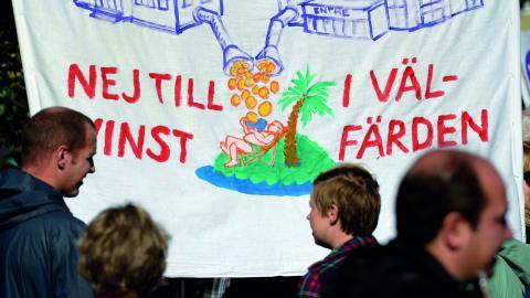 """""""De skattepengar som du och jag betalar in ska användas till skola, vård och omsorg och inte till att berika riskkapitalister och andra som vill göra stora vinster på vår gemensamma välfärd"""", skriver debattörerna.  Bild: Janerik Henriksson / TT"""