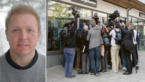 Jonas Lindström / Media var på plats när Norges invandrings- och integrationsminister Sylvi Listhaug, från det högerpopulistiska Fremskrittspartiet, besökte Rinkeby. Bild: Privat / Anders Wiklund/TT