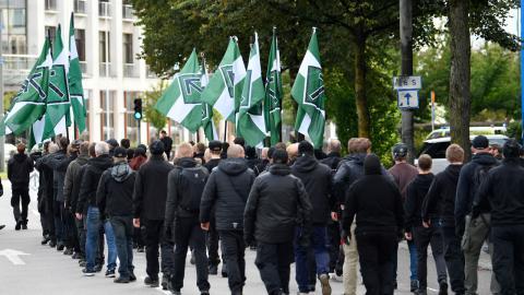 Nazistiska NMR höll under söndagen en otillåten demonstration i Göteborg.  Foto: Björn Larsson Rosvall /TT