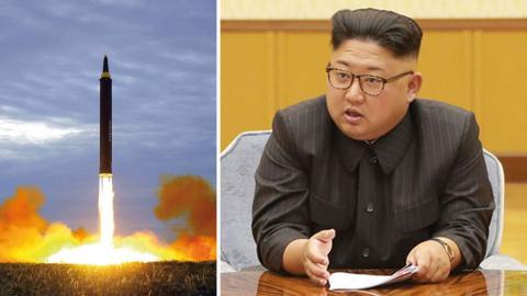 Natten mot söndagen provsprängde Nordkorea enligt egen uppgift en vätebomb. Till höger: Ledaren Kim Jong-un. Bild: Ap