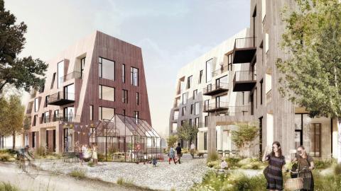 Förra året blev 2 000 nya lägenheter klara, i år kommer lika många till ut på marknaden. Samtidigt är tusentals andra bostäder planerade på olika ställen i Örebro.  Bild: Slättö Förvaltning AB och arkitektkontoret C.F. Møller Sverige AB