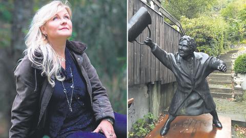 """Skulpturen """"Med handväskan som vapen"""" kallas i folkmun Tanten med handväskan. Nuvarande ägare är en privatperson som lånar ut den till Bokmassan. Bild: Ewa Stackelberg"""