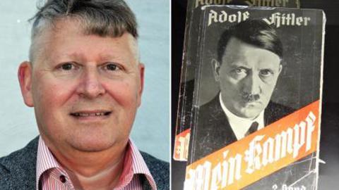 """Tommy Nilsson / """"Mein Kampf"""" av Adolf Hitler. Bild: Skärmdump från Facebook / Adam Jones/CC"""