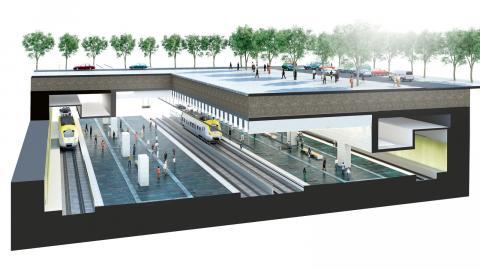 Ritning över centralen efter Västlänken. Bild: Metro Arkitekter
