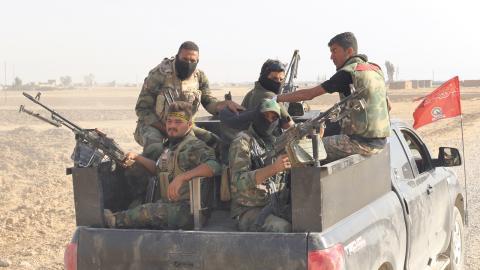Soldater från shiamiliserna PMU, Popular Mobilisation Units, iirakiska Hawija. Bild: Joakim Medin