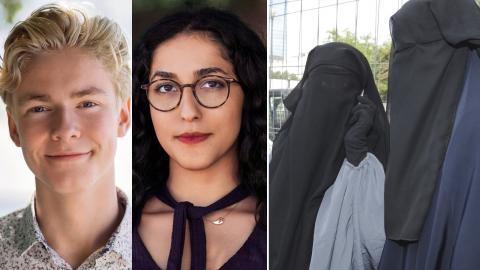 Axel Hallberg och Aida Badeli från Grön ungdom / Kvinnor i burka. Bilder: Grön ungdom / Yves Logghe/AP/TT