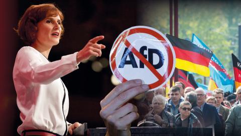 """""""Vi ska skapa en stark motpart i parlamentet och kommer att kämpa för andra samarbeten inom till exempel sociala rörelser i det tyska samhället"""", säger Katja Kipping, partiledare för vänsterpartiet Die Linke.  Bild: Mark Mühlhaus"""