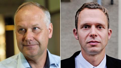 Jonas Sjöstedt, partiledare (V), och Jens Holm, klimatpolitisk talesperson (V).