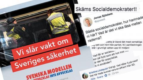 Bild: Faksimil Socialdemokraternas Facebooksida, Jonas Sjöstedts Twitter.