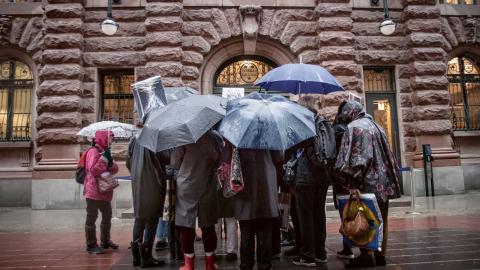 Klimatmöte. Grand Panthers samlade för gräsrotslobbying utanför riksdagshuset. Bild: Hilda Arneback