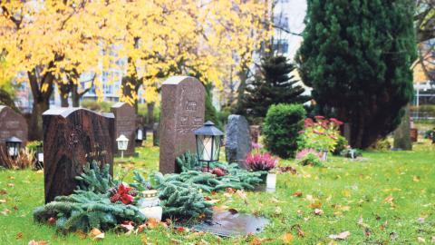 Att besöka en kyrkogård under allhelgonahelgen har blivit vanligt under allhelgonahelgen – även för den som kanske inte har en anhörig på kyrkogården som besöks. Foto: Sanna Arbman Hansing