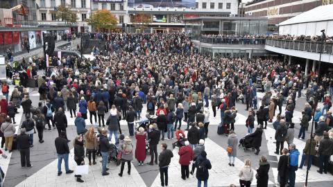 Manifestation efter #metoo förra månaden.   Bild: Claudio Bresciani/TT