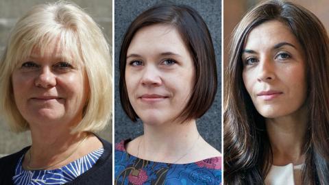 Lena Josefsson, Lina Stenberg och Tara Twana från S-kvinnor.