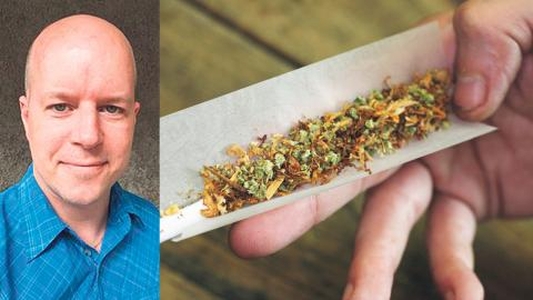 Magnus Andersson, partliedare Piratpartiet / En cannabiscigarett. Bild: Piratpartiet / Peter Dejong/AP/TT