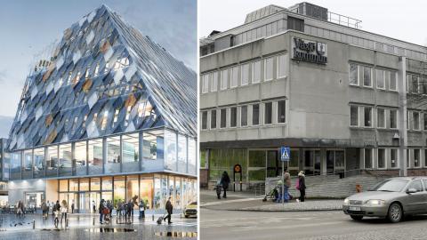 Ritningen över det planerade bygget och Växjös nuvarande kommunhus. Bild: White Arkitekter & Janerik Henriksson/TT