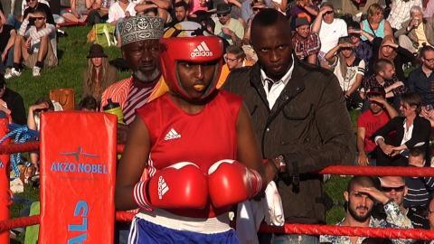 2014 blev Sagal Hussein svensk mästare i 57-kilosklassen i boxning. Foto: Stillbild ur filmen