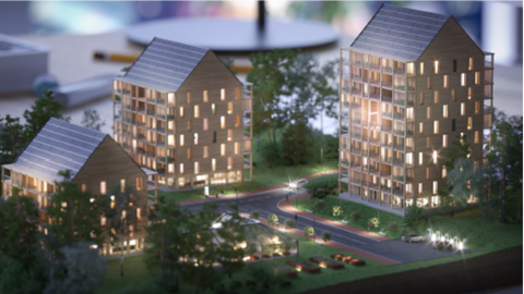 Modell över ETC Byggs hyreshus i olika storlekar. Bild: ETC Bygg