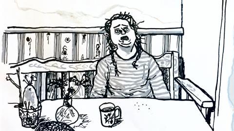 Ulrika Linder tecknar mer i dag än vad hon någonsin gjorde som heltidskonstnär, men bilderna är i litet format. Teckningarna trycks in mellan fönster och loggor på kuverten och fotograferas med mobilkamera.