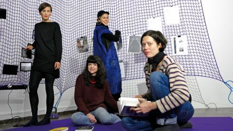 Konstnärskollektivet 0s+1s (zeros and ones) bestär av Sonia Hedstrand, Choterina Free, Rut Karin Zettergren och Anna Kinbom. Foto: Christian Egefur