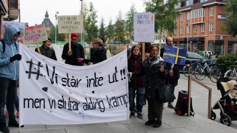 Flera manifestationer mot utvisningarna har ägt rum i Umeå under hösten och vintern.  Bild: Liselott Holm